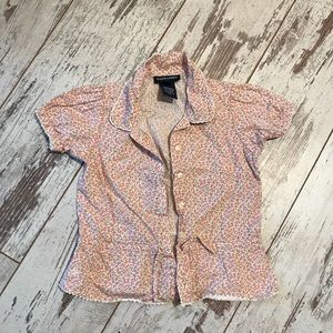 Short sleeve floral button-up